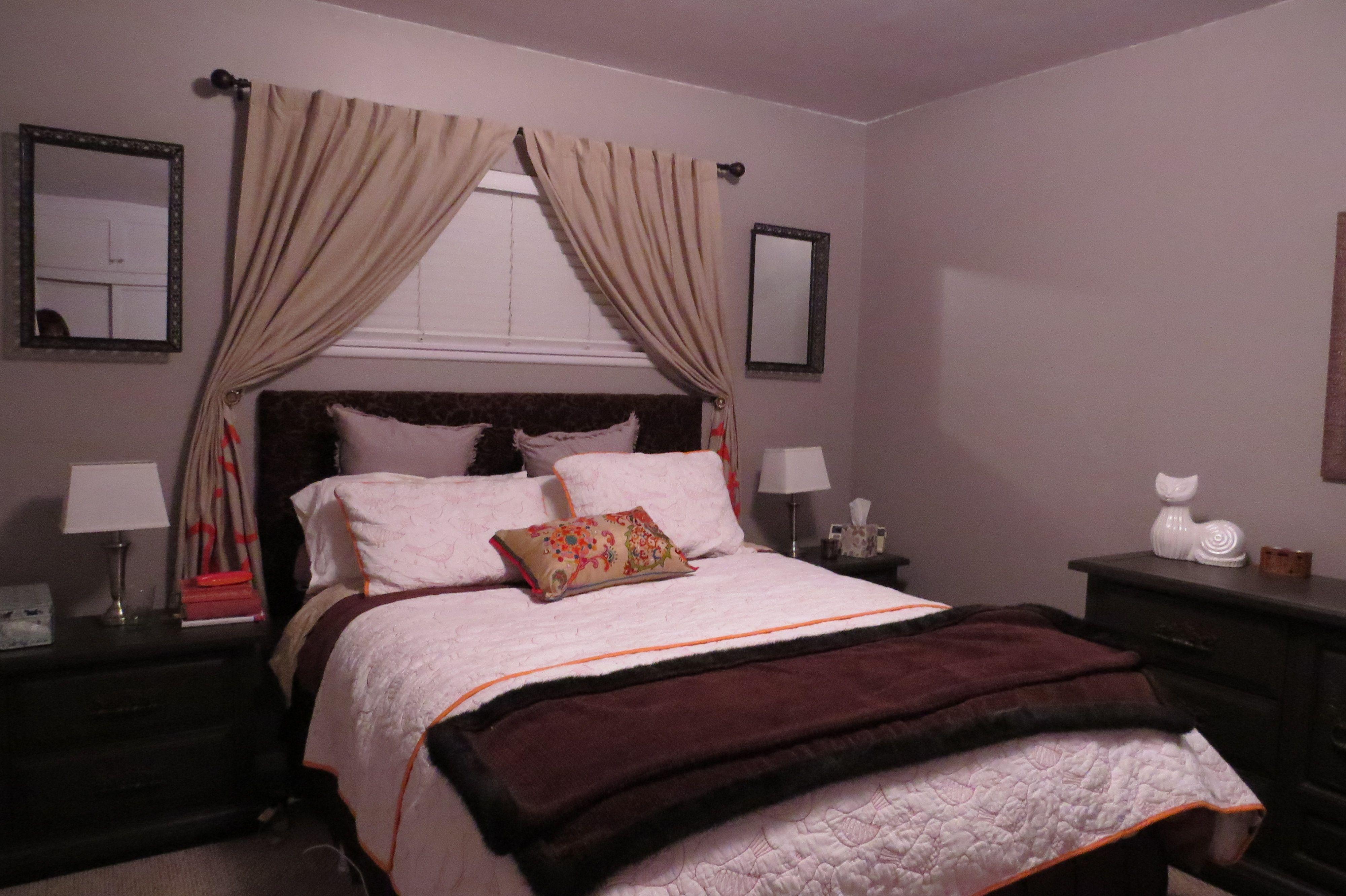 Valspar Bedroom Color Ideas Part - 29: DIY Bedroom Painted In Valspar London Coach With My Favorite Accent Color-orange.  No