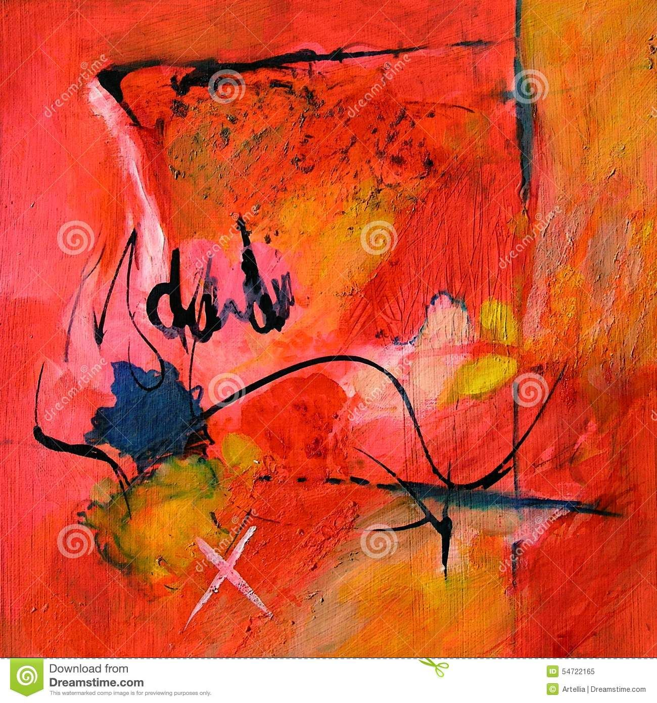 Modern Abstract Art - Painting - Calligraphy / Graffiti Red And ...