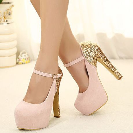 US$34.96] - Laconic Light Pink Match Gold Suede Platform Mary Jane ...
