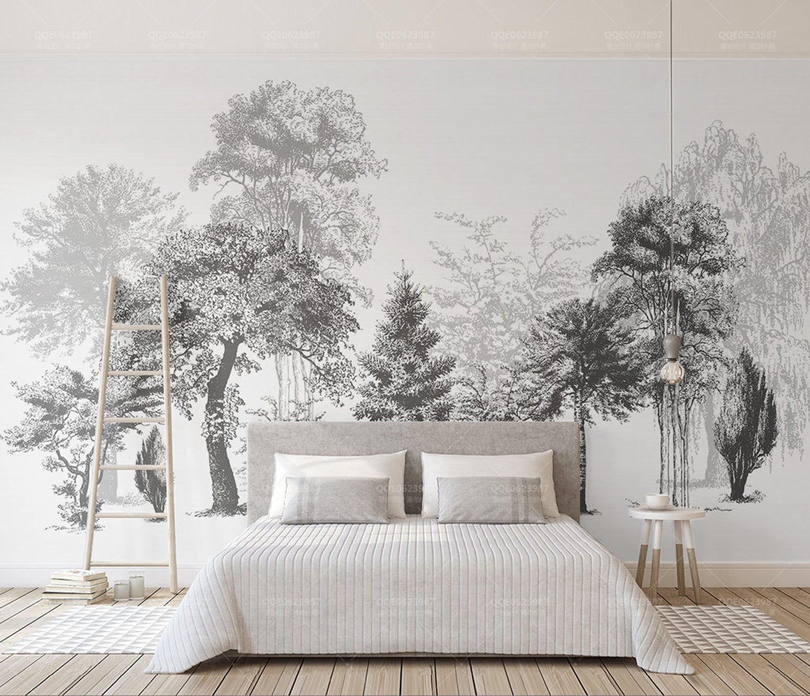 3D Black White Abstract Forest Removable Wallpaper,Peel