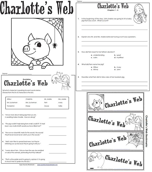 Charlottes web worksheets pdf