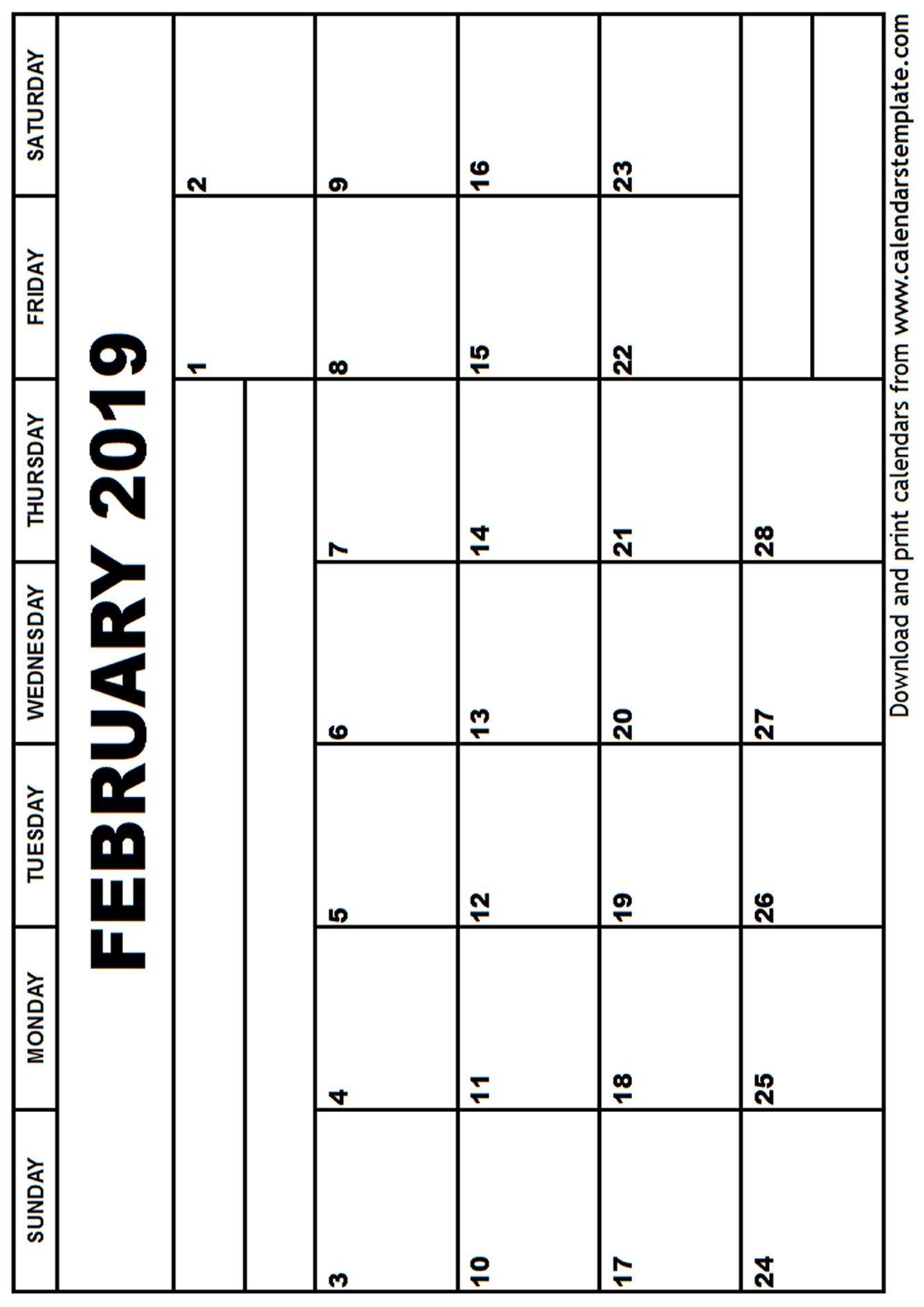 February Calendar Portrait