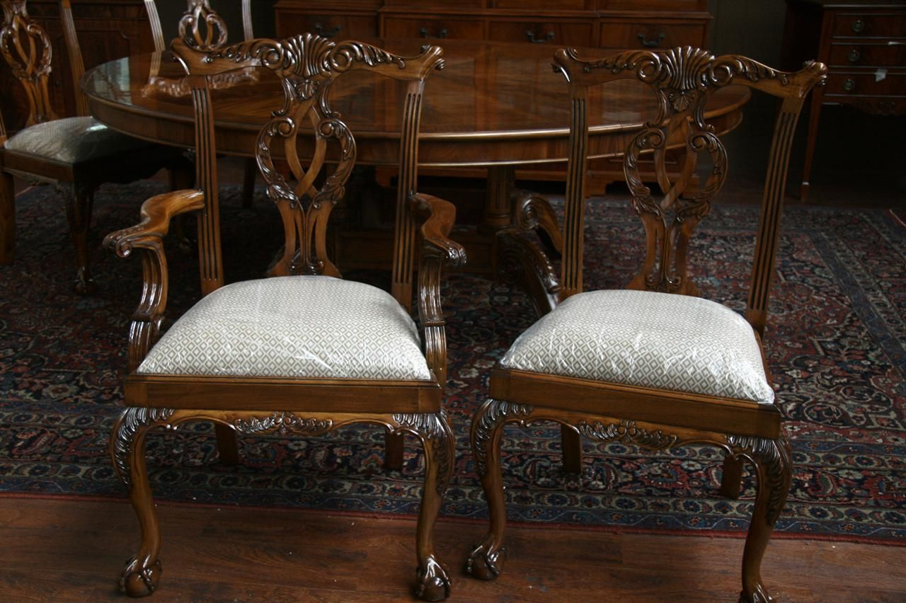 Mahogany Chippendale Dining Chairs, Fine Reproduction Furniture,  Philadelphia Style Ball And Claw Chairs.