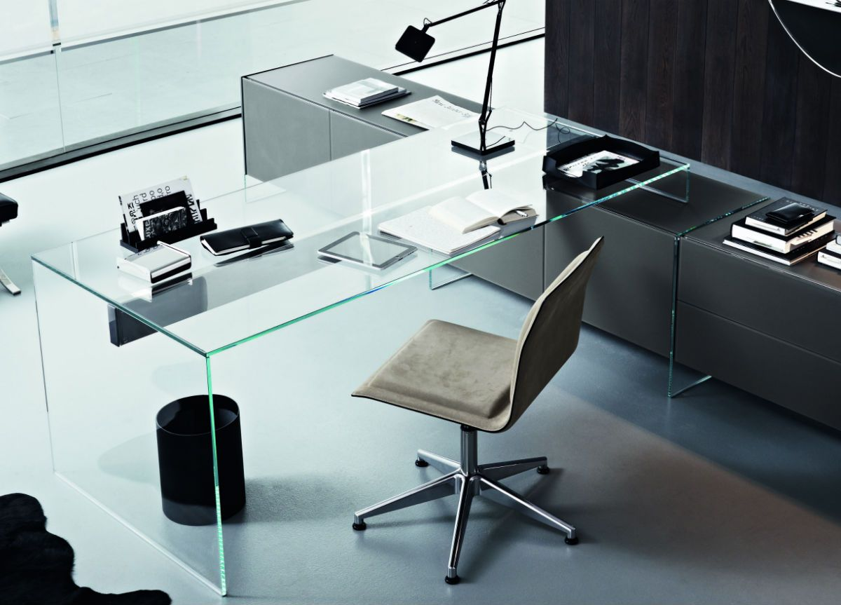 Borgonovo Mobili ~ Gallotti & radice air glass l shaped desk 静思 进化 pinterest