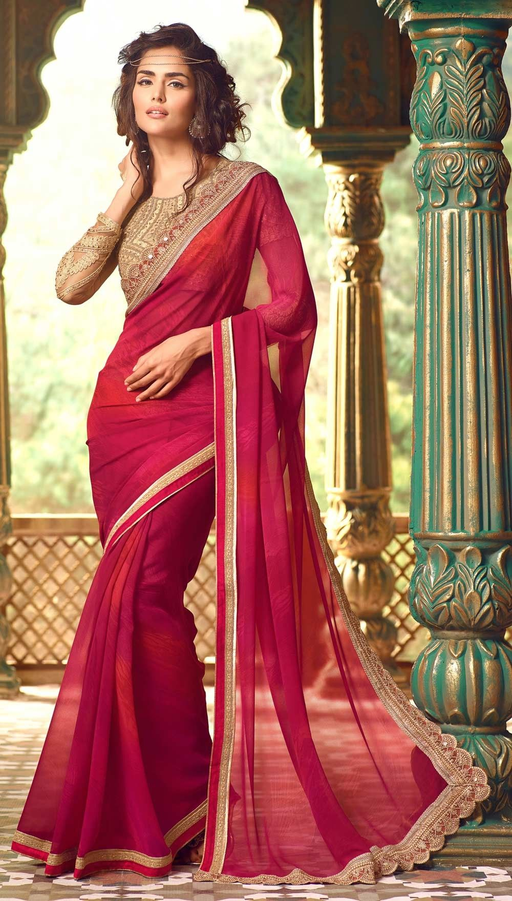 3f8a35f657 Magenta party wear latest chiffon saree with designer blouse in 2019 ...