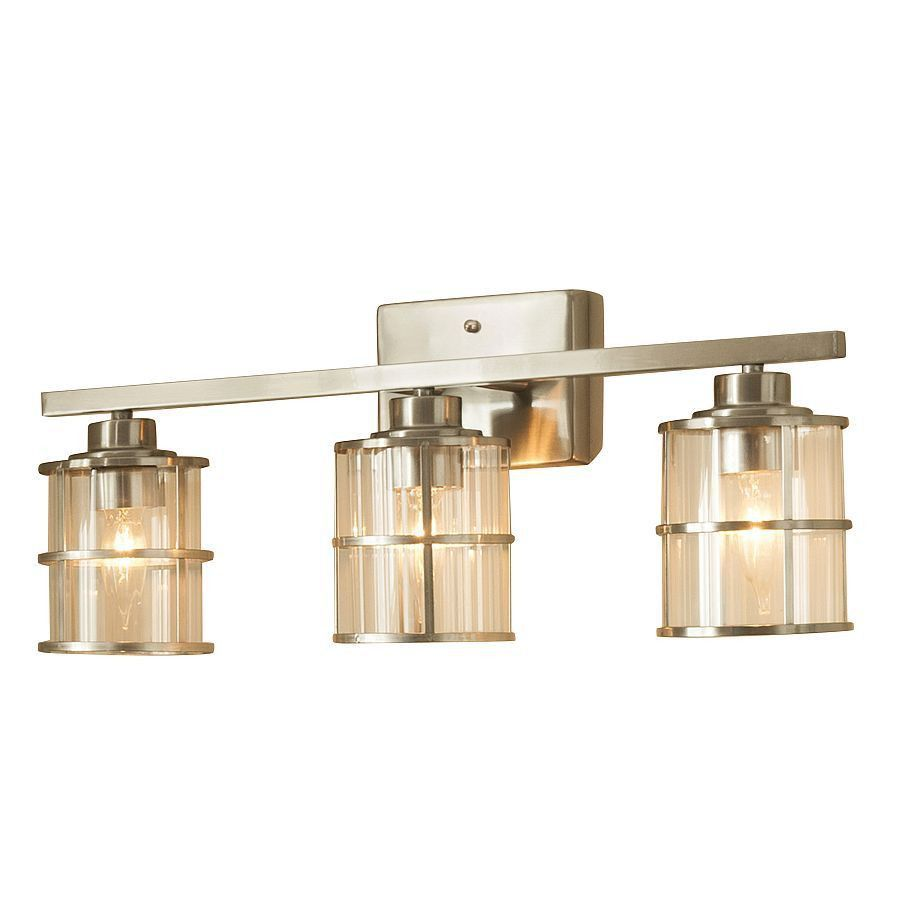 Allen Roth Kenross 3 Light Brushed Nickel Cage Vanity Bar