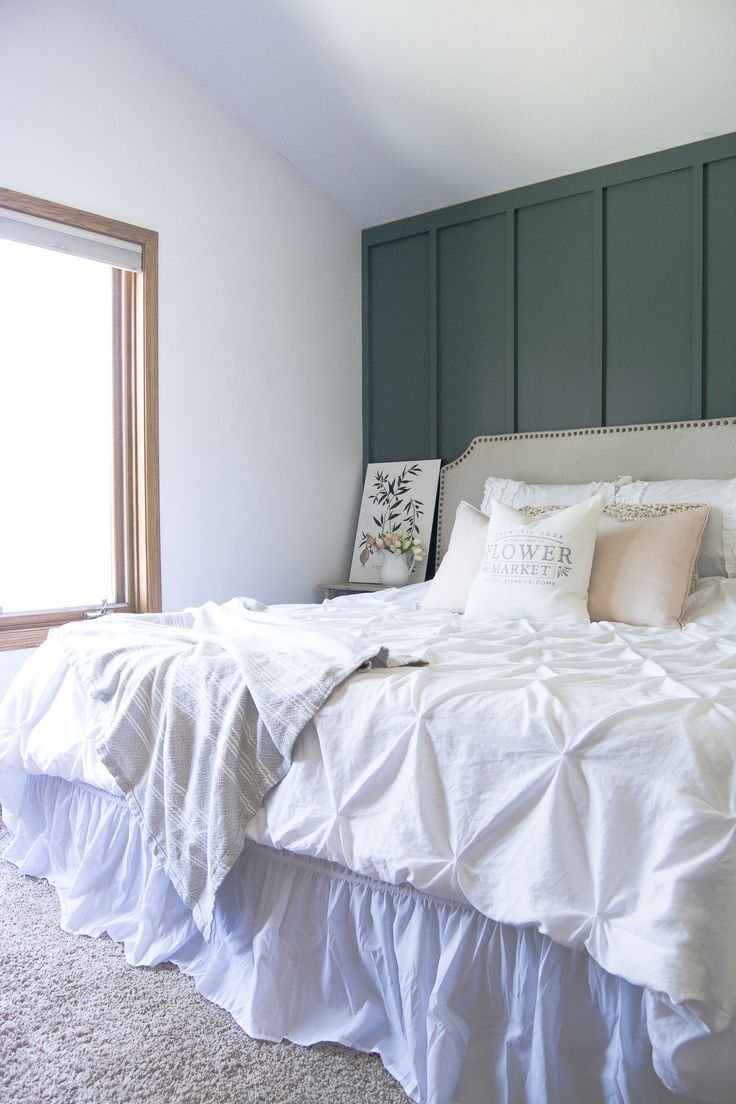 Master bedroom accent wall  Modern Farmhouse Bedroom Accent Wall  I heart DIY  Pinterest