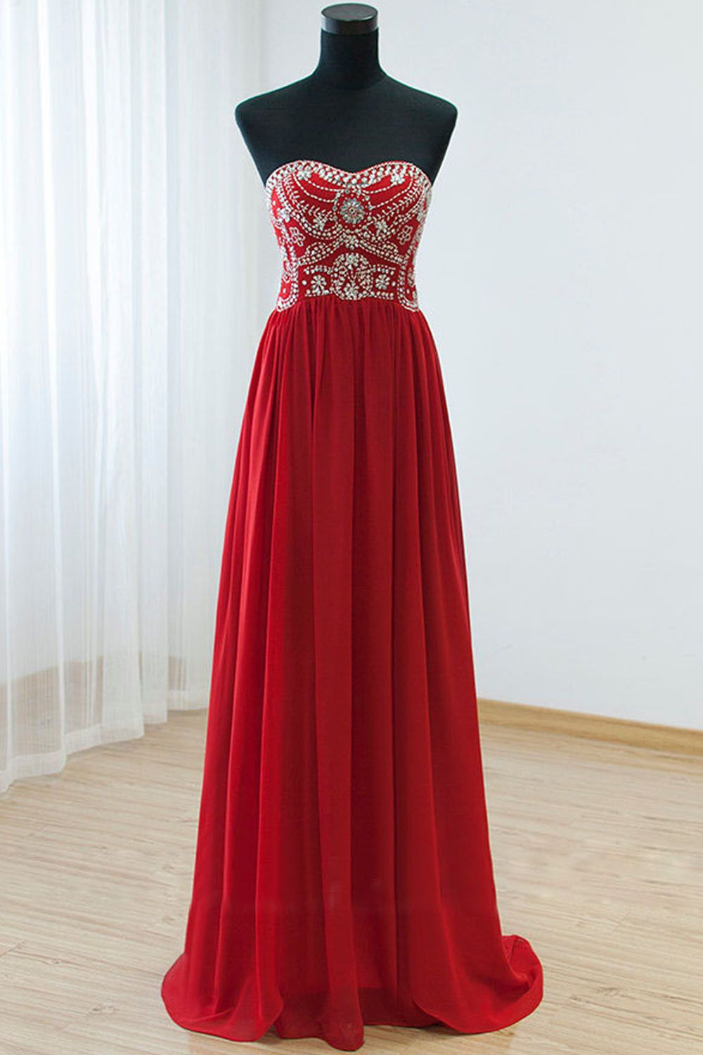 Empire waist red backless sexy long prom evening dress amy