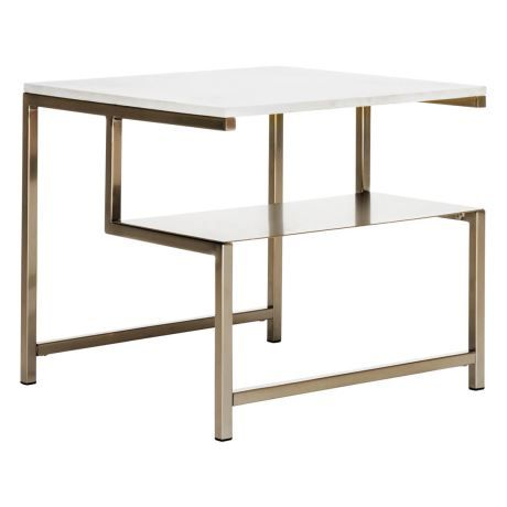 Nook With Shelf Occasional Table In Marble Gold Colour