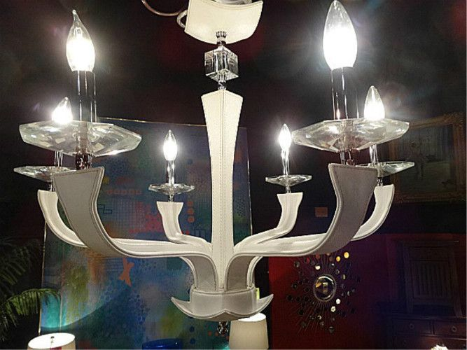 NEW DCOTA DESIGNER WHITE LEATHER AND LUCITE CHANDELIER