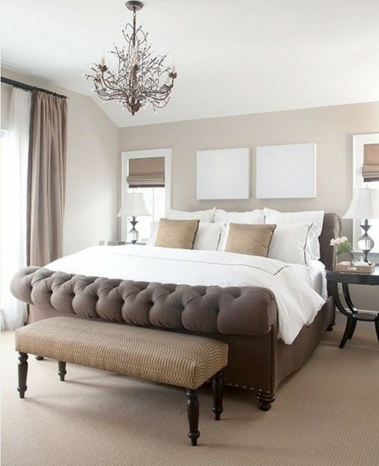 Bedroom Chairs At The Range Curtains On Bedroom Wall Master Bedroom Lighting Ideas Bedroom Design Inspiration: Tufted Sleigh Bed / Neutral Decorating