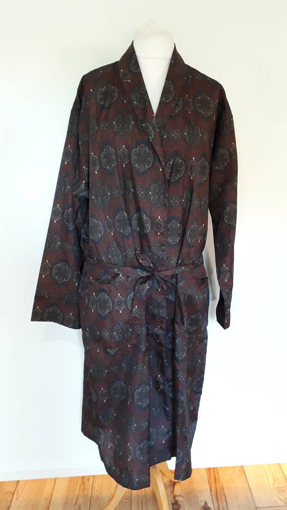 Vintage mens robe 60s Tootle paisley print mens dressing gown ...