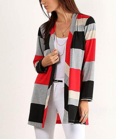 Another great find on #zulily! Red Color-Block & Black Open Cardigan #zulilyfinds