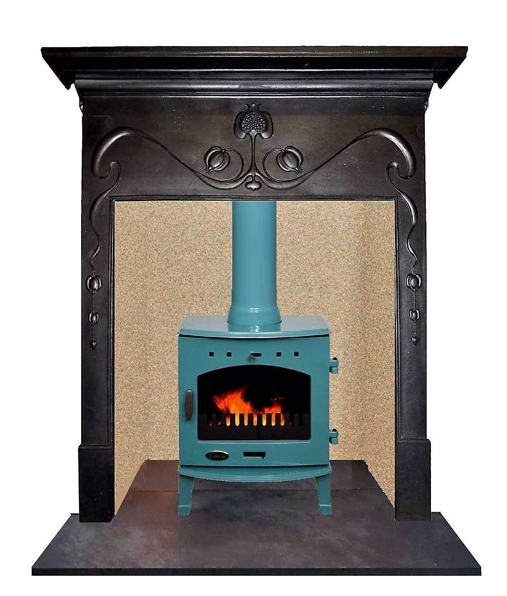 Antique art nouveau cast iron mantel fireplace surround in