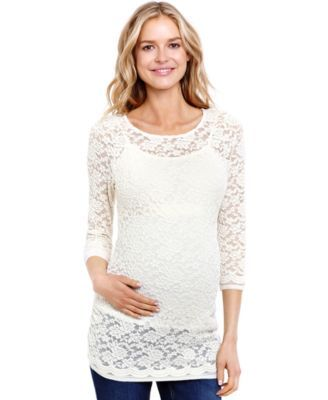 f432f0ec2dcf53 Jessica Simpson Maternity Long-Sleeve Lace Illusion Top