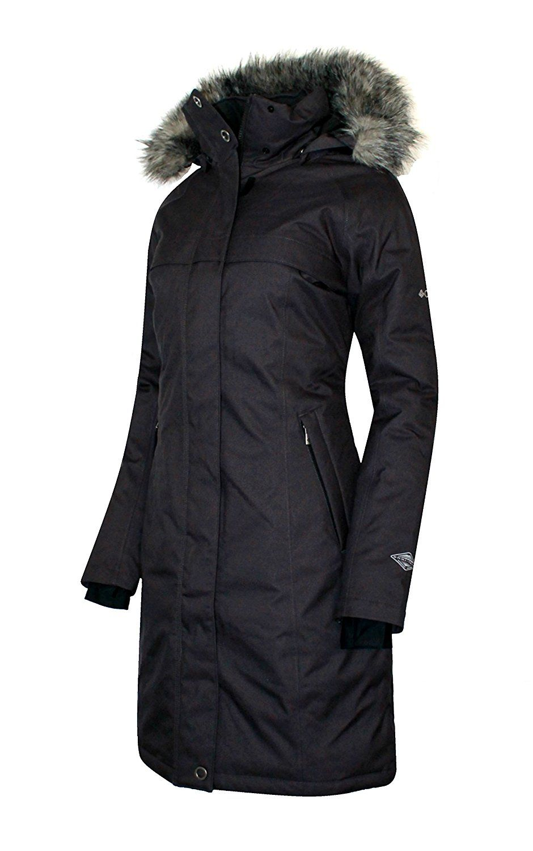 COLUMBIA Women's Flurry Run Down Long Omni Heat Jacket Coat Hooded ...