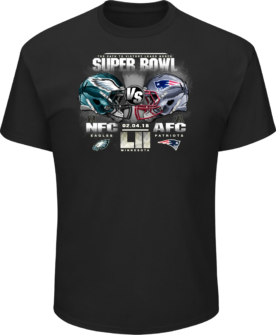 8941a3993 Men s Super Bowl LII Majestic Black Dueling Icon Challenge T-Shirt ...