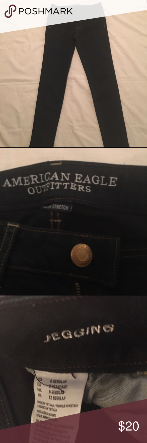 AE Denim Jeggings Like new! Dark wash jeggings American Eagle Outfitters Jeans Skinny
