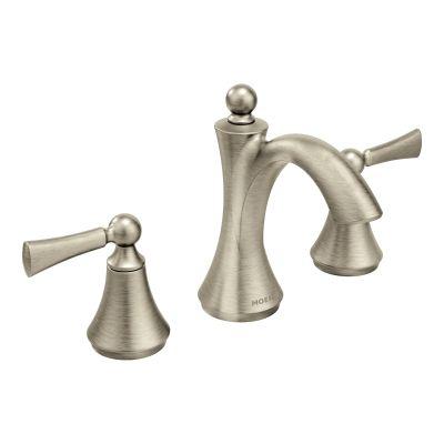Wynford Brushed Nickel Two Handle High Arc Bathroom Faucet