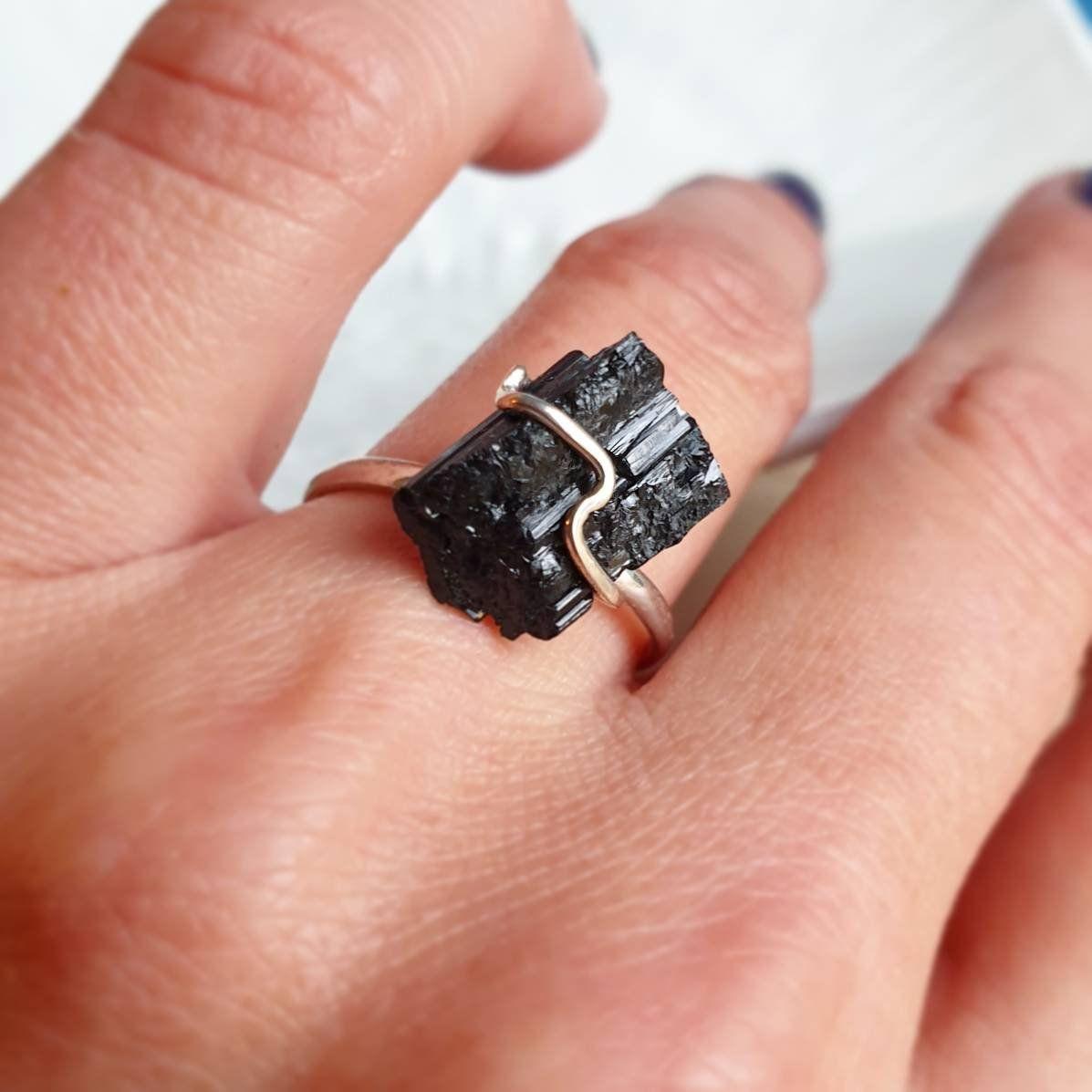 Black Tourmaline Ring Raw Tourmaline Black Gemstone Ring 7 3 4 Etsy In 2020 Black Tourmaline Ring Black Stone Ring Tourmaline Ring