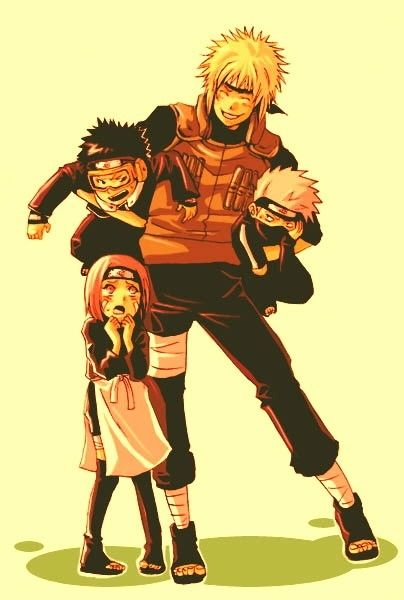Minato, Rin, Kakashi e Obito