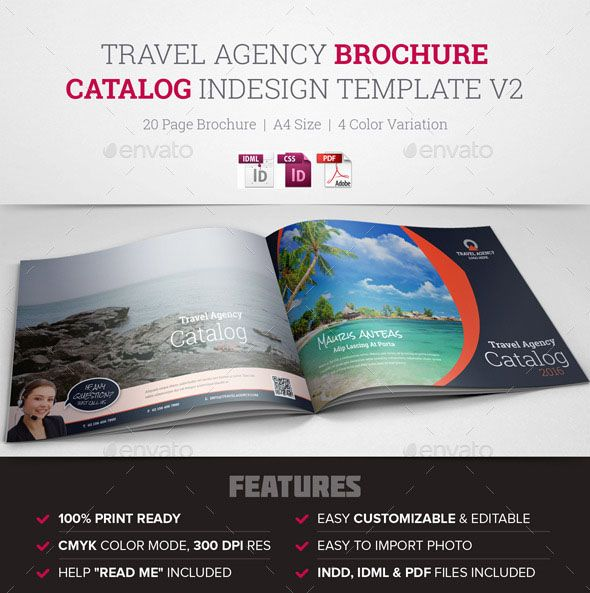 Travel Agency Brochure Catalog Indesign  Creative Clean And