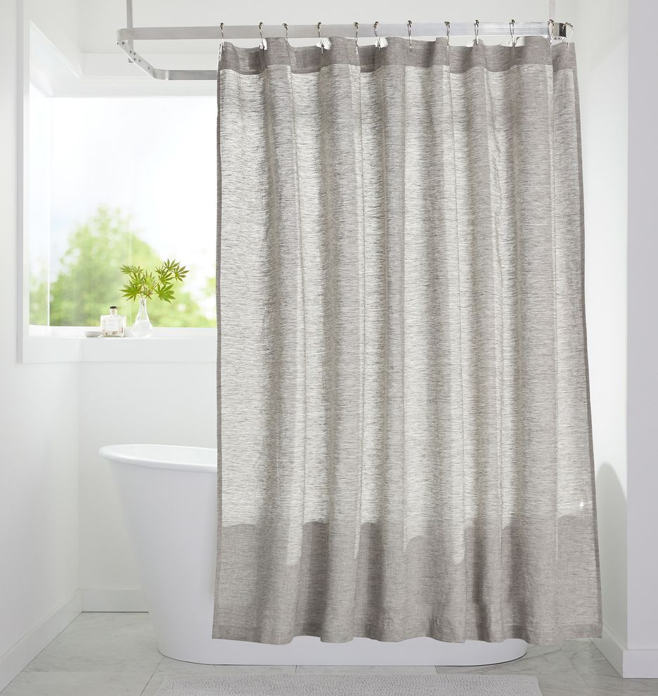 Gray Linen Shower Curtain E3228 Curtains Grey Bathroom Hanging