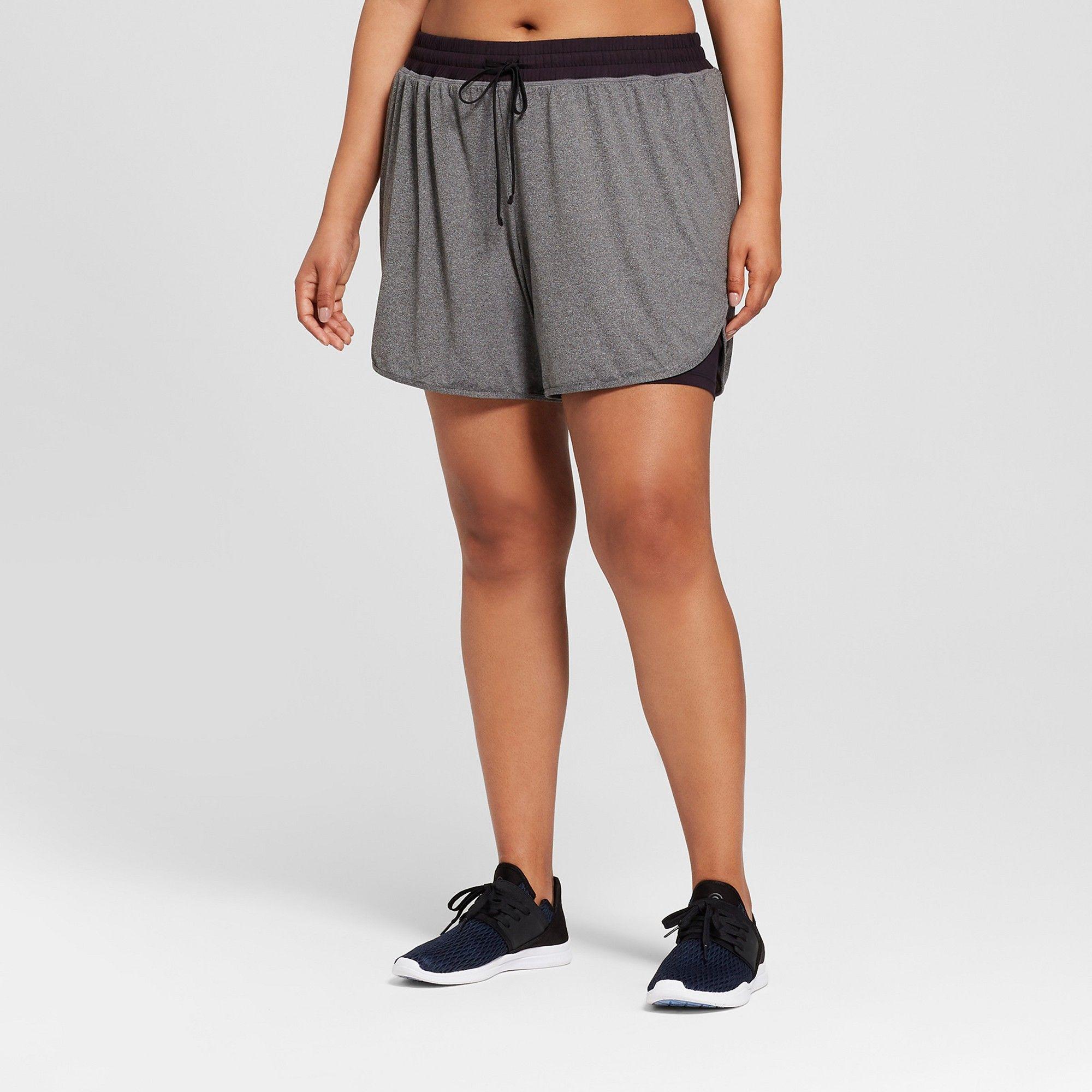 ca39005840fa Women s Plus Size Knit Layered Shorts - C9 Champion Dark Heather Gray 1X