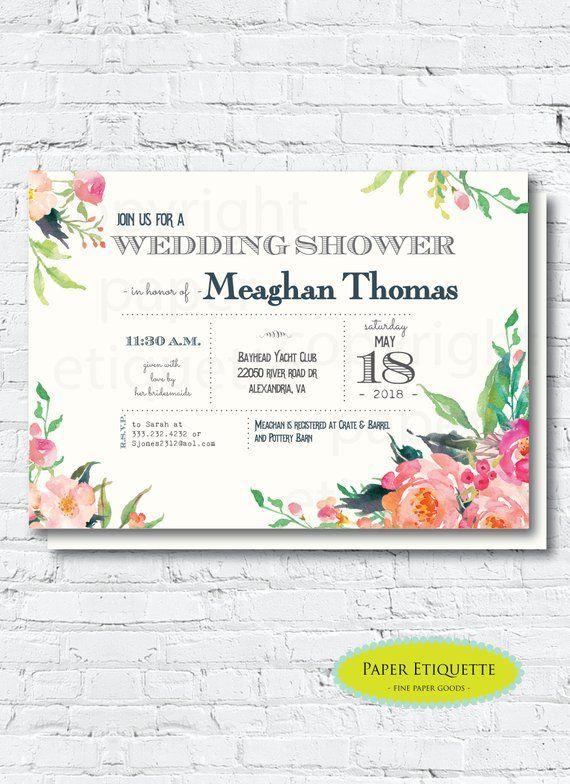 Bridal Shower Invitations Blush And Pink Garden Wedding Shower