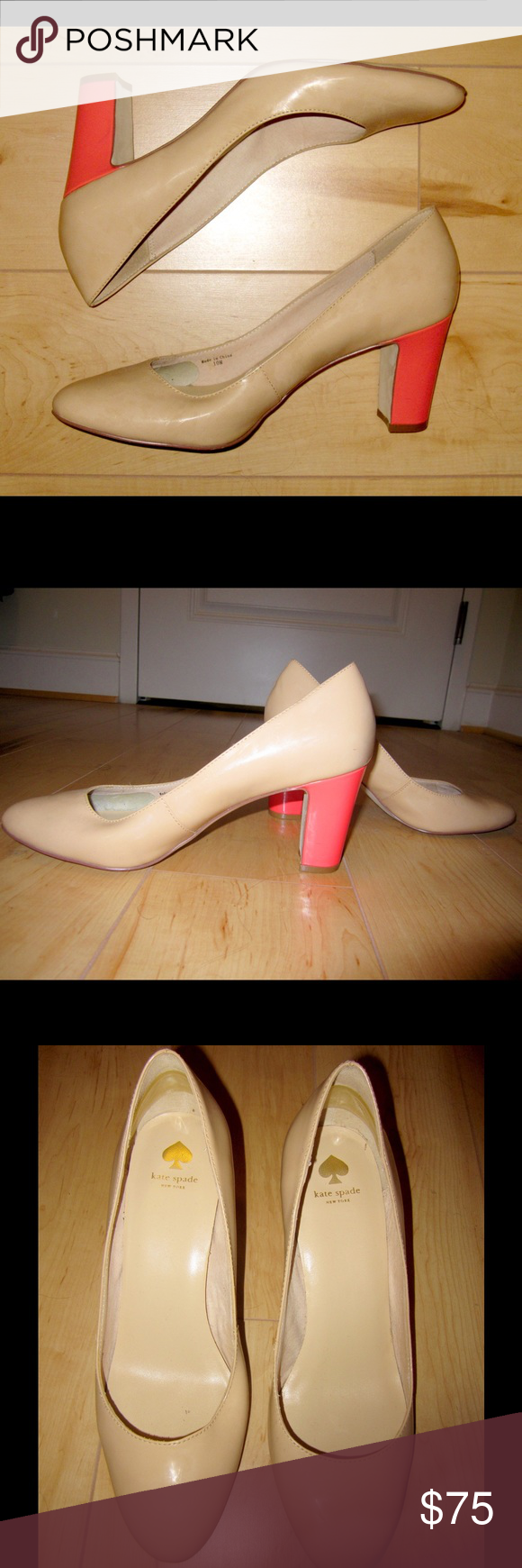 kate spade patent nude and pink heels size 10 Adorable kate spade new york patent heels! Nude color with a bright coral pink chunky heel. Small scuff on one heel and some signs of wear on soles. Would be so cute with boyfriend jeans and a tee shirt, or dressed up with a flowy skirt!  kate spade Shoes Heels
