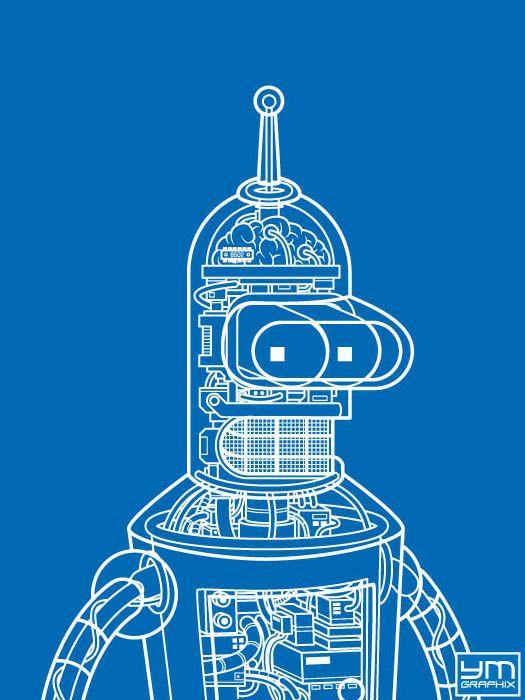 Bender (Blueprint version) ROBOT ANATOMY Pinterest Dragon ball - new robot blueprint vector art
