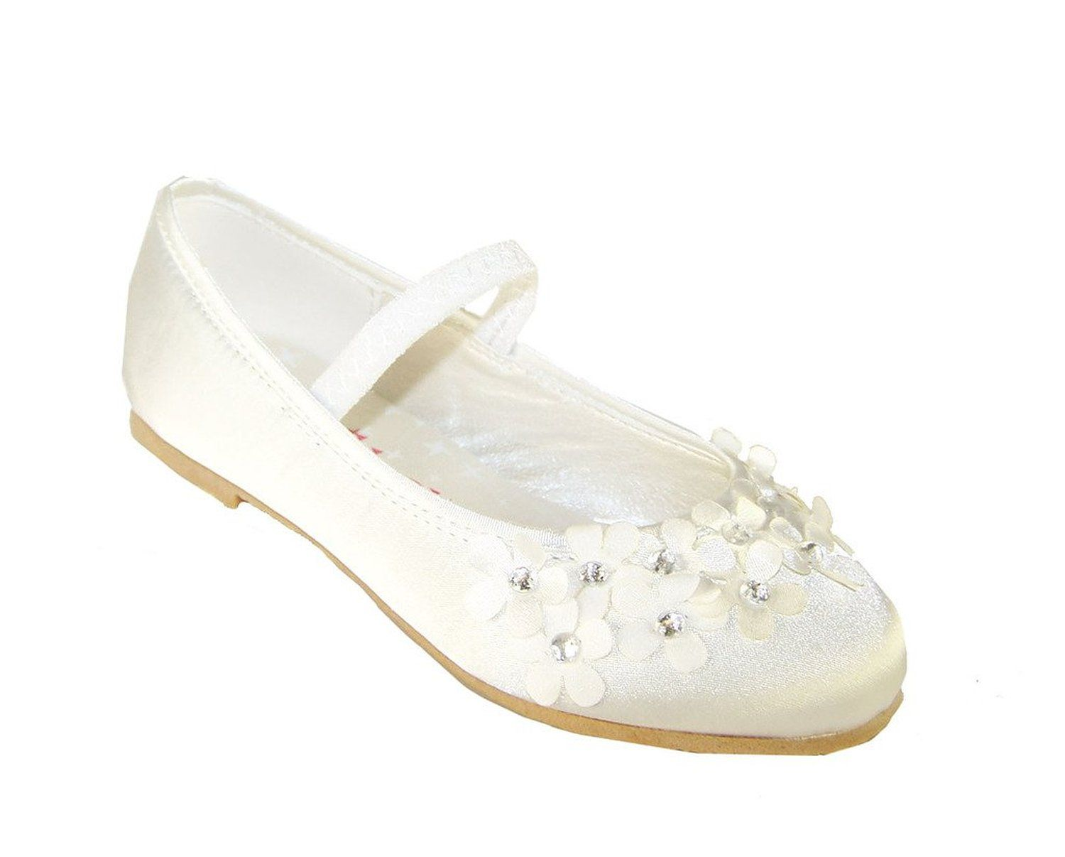 e4e514d82535 Amazon.com  Sparkle Club Girls  Ivory Flower Girl and Bridesmaid shoes with  flowers and gems Satin Ballet-Flats  Clothing