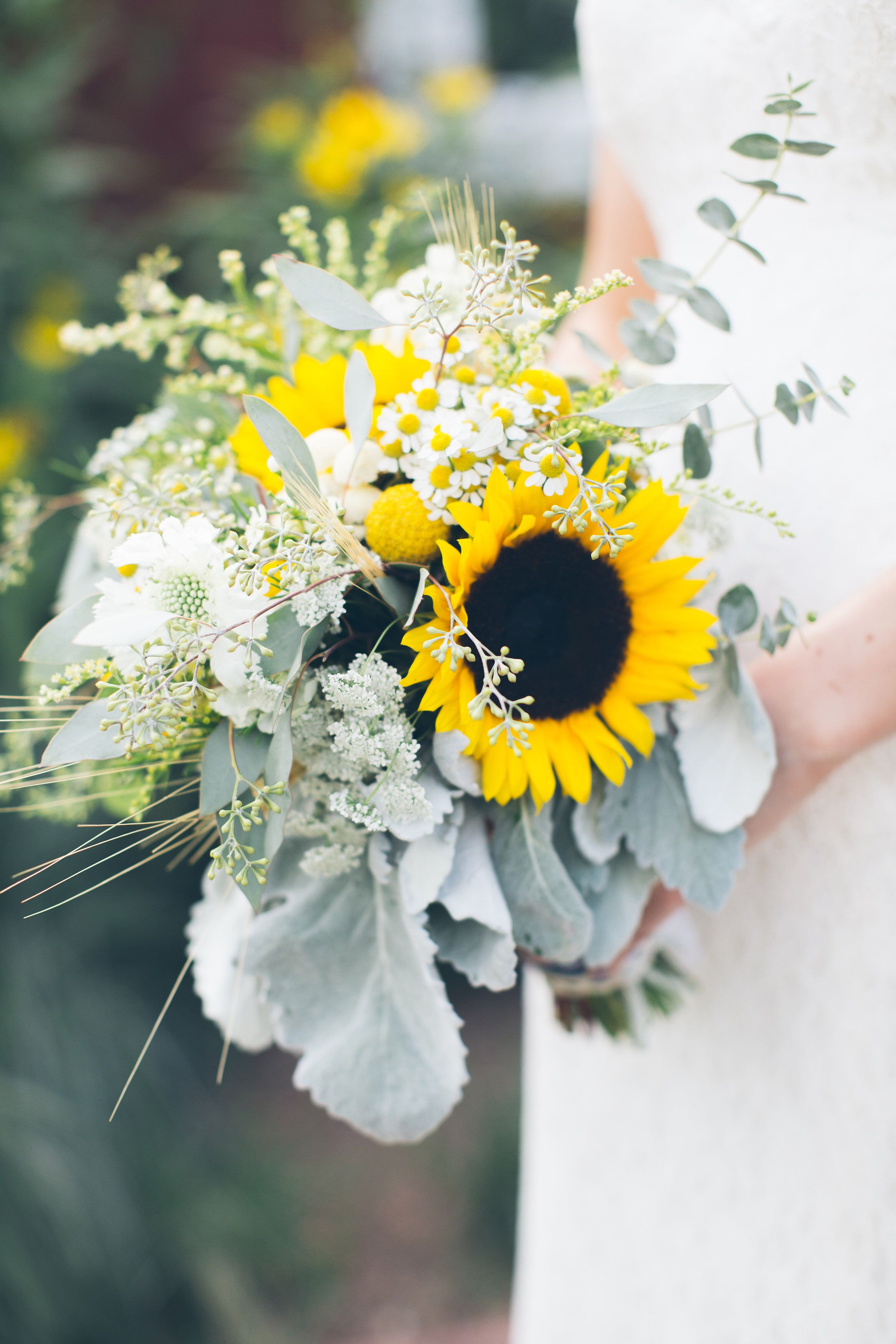 Bridal bouquets Sunflower wedding. Sunflower and wheat