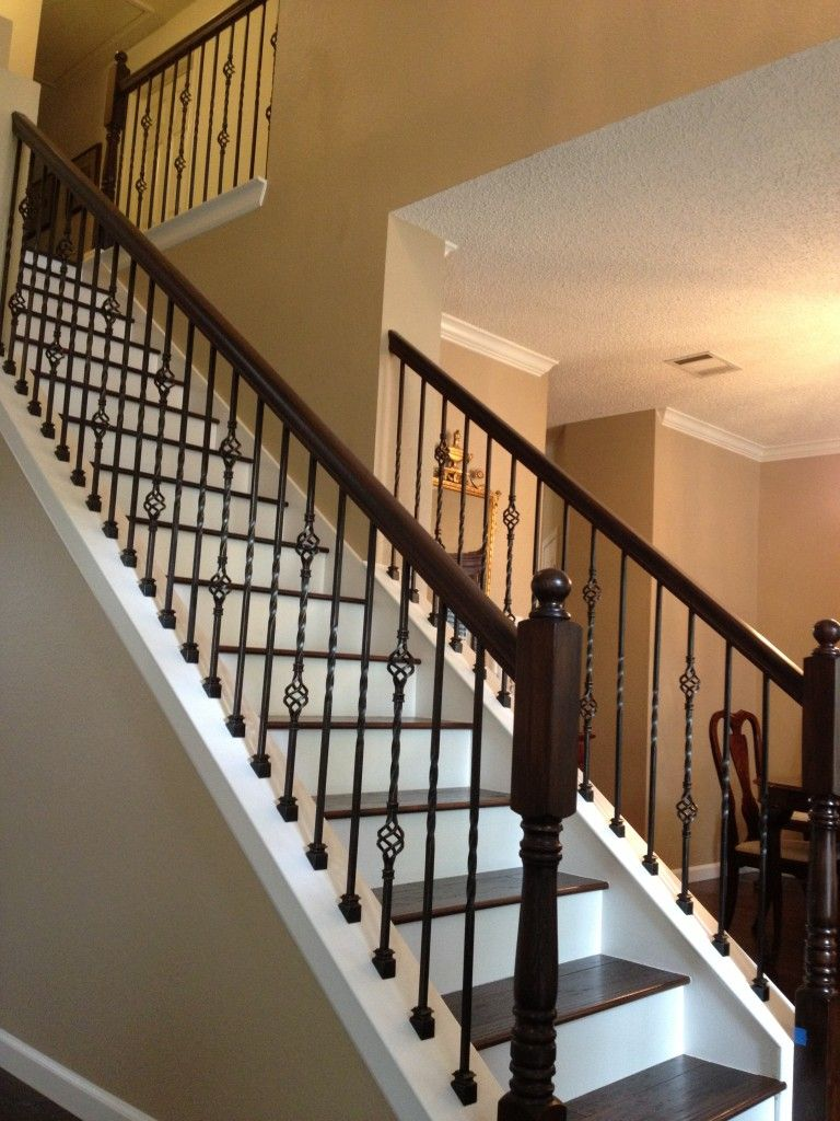 Wrought Iron Balusters With Wood Treads Vip Services Painting | Black Wrought Iron Stair Railing | Oak And Iron | Straight Line | Rectangular Iron | Walnut Iron | Steel Railing
