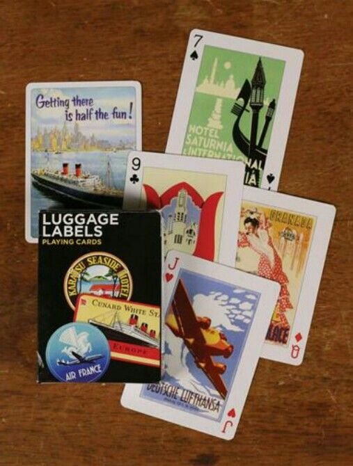 Luggage Label Playing Cards from Victorian Trading Co.