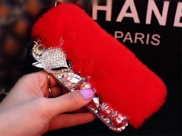 Luxury Rabbit Fur Diamond Fox Head Rhinestone Bling Case For iPhone 7 Plus 6 Plus 6s 5S 5 SE Crystal