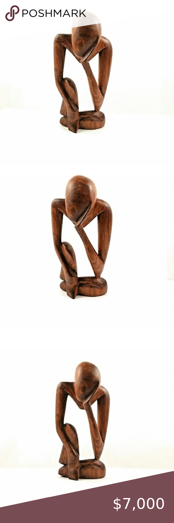 Wood Thinking Man Abstract Sculpture Handmade 10 Statue Handmade 10 This Hand Carved Wooden Statue Shows A Seate Abstract Sculpture Thinking Pose Sculpture