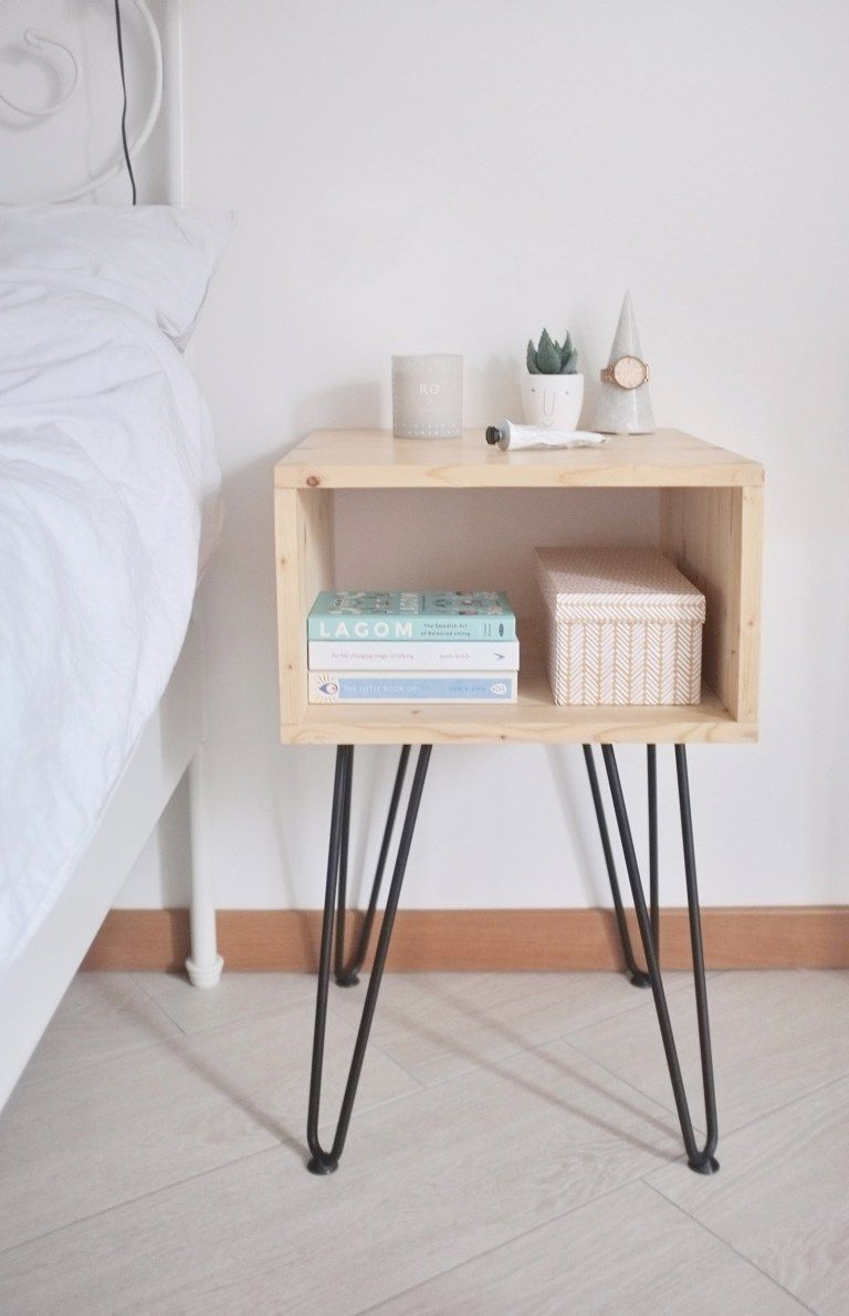 Photo of DIY // HOW TO MAKE A SCANDINAVIAN STYLE NIGHTSTAND WITH HAIRPIN LEGS