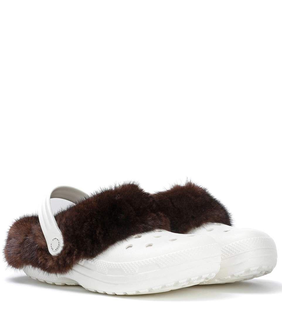 Fashionable Cheap Price Largest Supplier For Sale Christopher Kane Mink fur-trimmed Crocs Discount Geniue Stockist rSTn6nb5