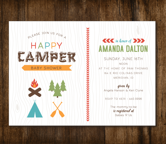 Camping Theme Invitations: Happy Camper Baby Shower