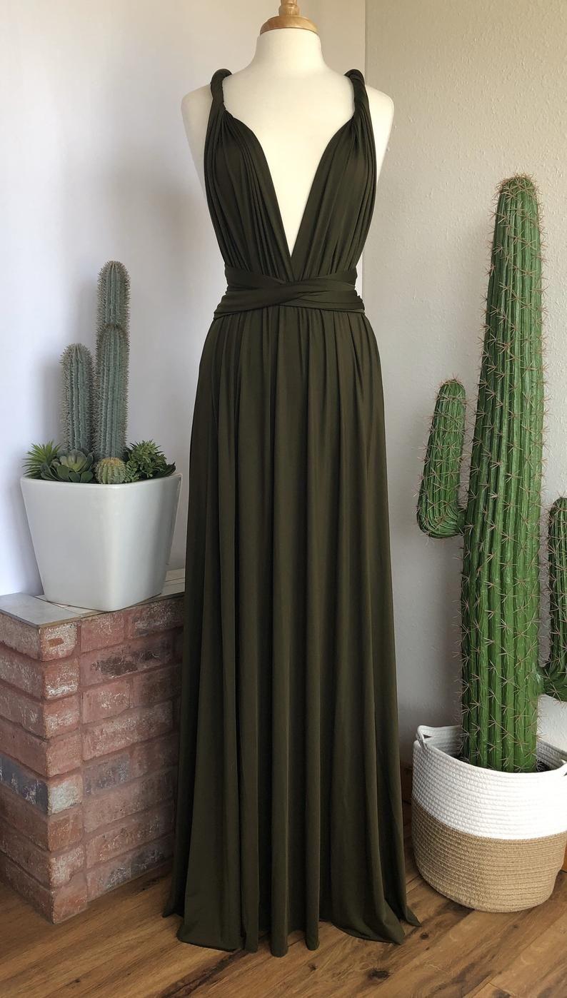 Dark olive green bridesmaid dress custom length