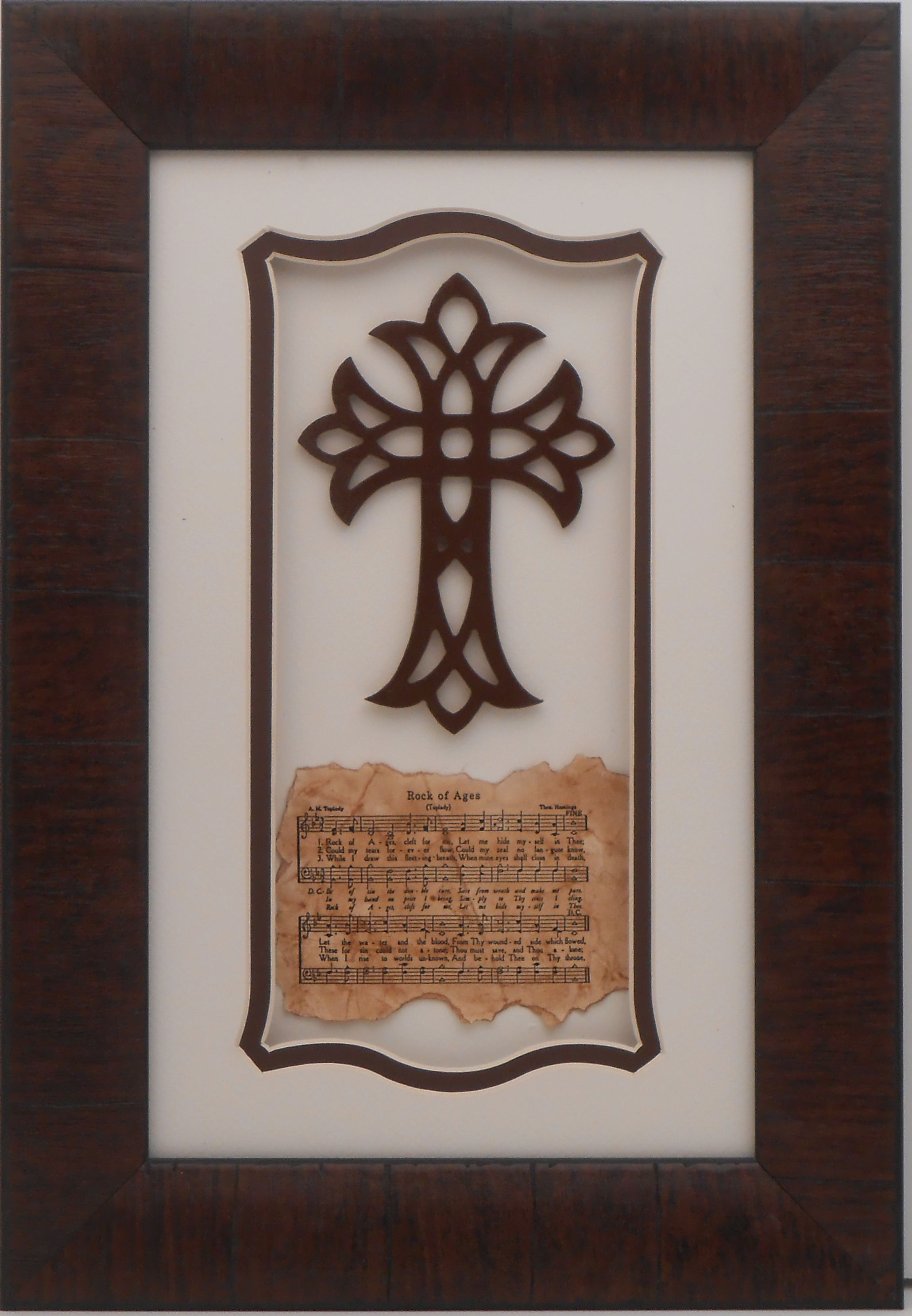 2003Framed Cross with Rock of Ages Shadow Box Large