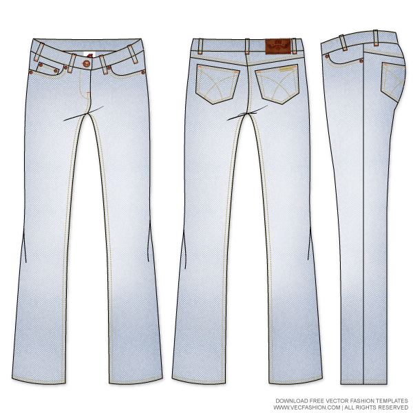 Womens-Straight-Cut-Denim-Jeans-Vector-Template