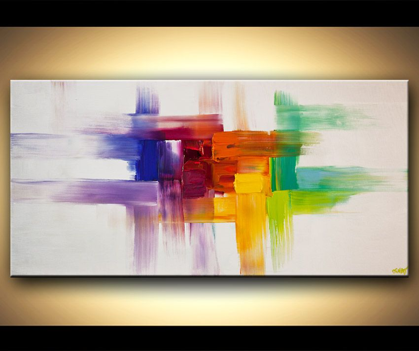 Original abstract art paintings by osnat colorful for Contemporary mural art