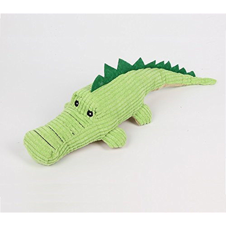 Stock Show 1pc Pet Squeak Toy Plush Green Crocodile Shape Teeth