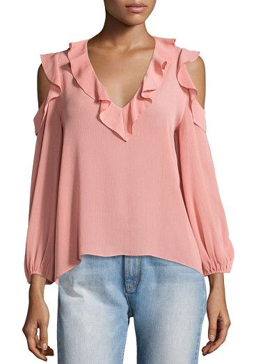 "Gia Cold-Shoulder Ruffle Blouse by Alice + Olivia. Alice + Olivia ""Gia"" gauzy blouse with ruffle trim at neckline and shoulders. V neckline. Long bishop sleeves. Cold s..."