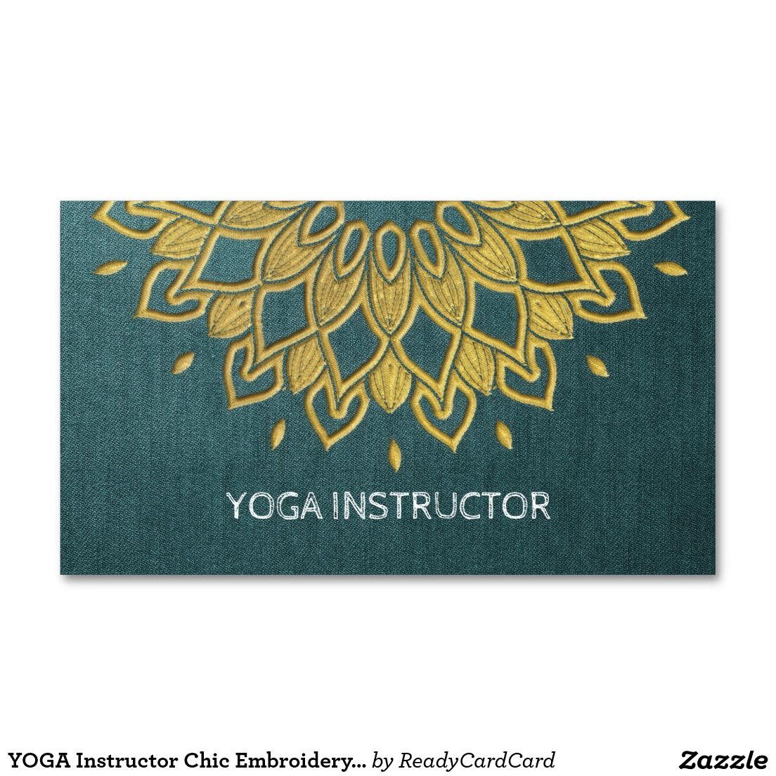 YOGA Instructor Chic Embroidery Green Gold Floral Business Card ...