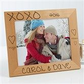 Personalized Wood Photo Frames - Hugs and Kisses Design - Romantic Gifts
