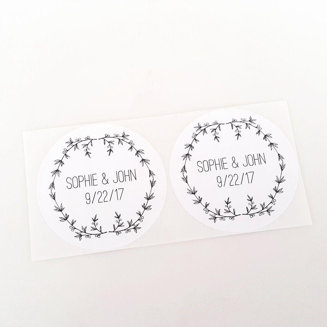 Rustic Wreath Wedding Labels | White wreath, Wedding favor labels ...