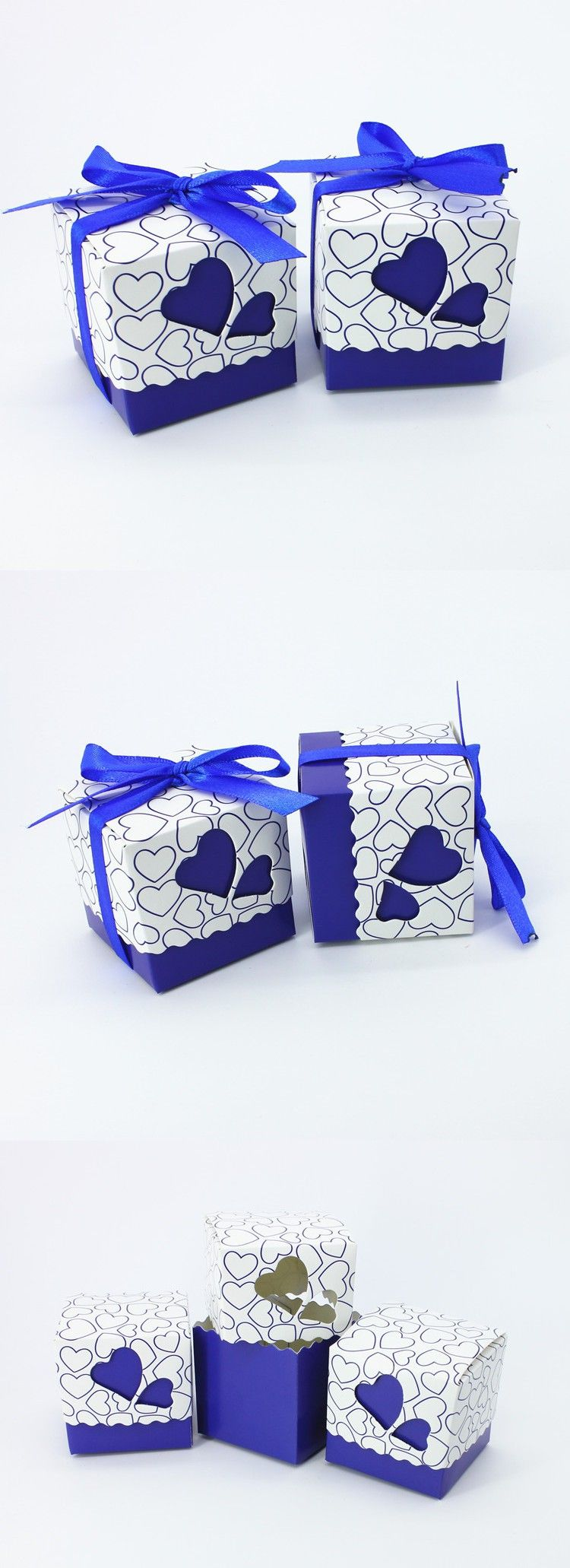 50pcs/lot Royal Blue Wedding Candy Box Sweet Heart Wedding Favors ...